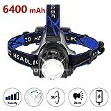 zknen® Stirnlampe LED, 6400mAh USB Wiederaufladbare Stirnlampe Kopflampe Leichtgewichts für Laufen...
