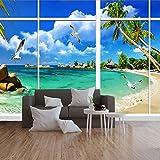 Tapeten Diy Fototapete Simulationsfenster, Ozeanlandschaft, Seevogel Für Wohnzimmer Büro...