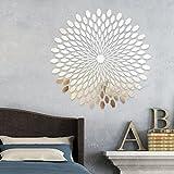 225pcs Spiegel Fliesen Wand 3D Sticker Aufkleber Mosaik Room Decor Stick auf Modern Art–Silber