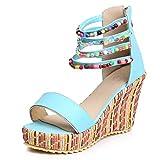 TIFIY-Damen Sandalen Womens Flats Open Toe Wedges Reißverschluss Thick Bottom Schuhe Bequeme...