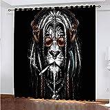 YUNSW Löwenmuster 3D Digitaldruck Polyester Faservorhänge, Wohnzimmer Küche Schlafzimmer...