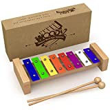 2-in-1: Xylophon Musikinstrument MIT Notenbuch - Glockenspiel diatonisch gestimmt von C-C -...