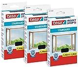 tesa Insect Stop STANDARD Fliegengitter für Fenster im 3er Pack - Insektenschutz zuschneidbar - Mückenschutz ohne Bohren - 3 x Fliegen Netz anthrazit - 110 cm x 130 cm
