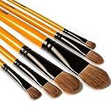 Art PinselSet, Malen Katzenzungenpinsel Set ideal für Acryl, Öl, Gouache, kreative Körperfarbe und Malerei Aquarellfarben, 6 Stück, Langer Holzgriff, Filbert Brushes(Nylon Hair)
