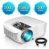 Beamer, ELEPHAS [Upgrade Version] 1080P Full HD 5000 Lumen 200' LCD Beamer, für Film Unterhaltung...