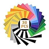 TUAKIMCE 30 Stück Plotterfolie Textil Wärmeübertragung Vinyl 25x30cm, Vinylfolie Textilfolien Heat Transfer Vinyl Transferpapier, Heiße Presse Haushaltseisen auf T-Shirts & Stoffe