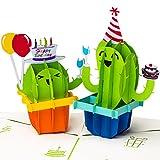 PrimePopUp | 3D Geburtstagskarte, Happy Birthday mit Kakteen, Pop up Karte, Grußkarte,...