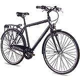 CHRISSON 28 Zoll Citybike Herren - City One schwarz 53 cm - Herrenfahrrad mit 3 Gang Shimano Nexus...