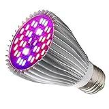 Wachstumslampe, 30W LED Pflanzenlampe E27/E26 Grow Light, 40 LEDs Vollspektrum Pflanzenlicht,...