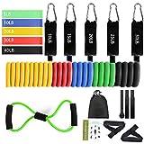Hook Resistance Bands Fitnessband Widerstandsband Set(11-Teiliges), Expander Fitness für Fitness...