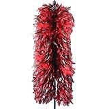 sjzwt 2Meters 200g Hahn-Feder-Boa Breite 20cm Hochzeit Kleidung Schal Schmuck Federn for Crafts (Color : Red)