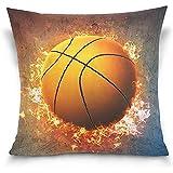 Wen-shop Brennender Basketball Blaze Fire Flame Sportdekorationen Baumwolle Polyester Throw Pillow...