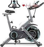 Divgdovg Heimtrainer Profi Indoor Cycle Ergometer Heimtrainer mit Pulsmesser, LCD...