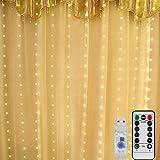 Mitening LED USB Lichtervorhang 3m x 3m, 300 LED Lichterkettenvorhang mit 8 Modi Lichterkette...
