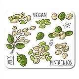 Mauspad grüne Farbe Pistazien und Schriftzug Diät Zeichnung gezeichnete Lebensmittel Mousepad für...