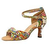 BASACA Damen Mädchen Sandalen Schuhe Sandaletten Bedruckte Satin Latin Tanzschuhe Lässige...