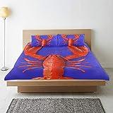 TONKSHA Bettwäsche-Set,Mikrofaser,Hummer Mit Roten Boxhandschuhen Blauer Hintergrund,1 Bettbezug...