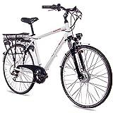 CHRISSON 28 Zoll E-Bike Trekking und City Bike für Herren - E-Gent Weiss mit 7 Gang Acera...