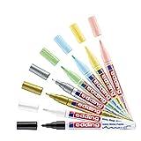 edding 751 Glanzlackmarker Set - mehrfarbig, metallic, pastell - 8 bunte Lackmarker - Rundspitze 1-2 mm - Lackstift für Glas, Stein, Holz, Kunststoff und Papier - wasserfest, stark deckend