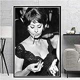 Heiße Sophia Loren Schwarz Weiß Schauspielerin Film Frau Mädchen Poster Drucke Ölgemälde...