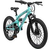 BIKESTAR Kinder Fahrrad Aluminium Fully Mountainbike 7 Gang Shimano, Scheibenbremse ab 6 Jahre | 20 Zoll Kinderrad Fully MTB | Türkis