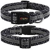 YINJIE Hundehalsband mit Baumwolle Fliege Hundehalsband Verstellbar Halsbänder für Kleine Mittlere Große Hunde und Katzen (Medium, Schwarz und Weiß)