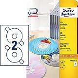 AVERY Zweckform L6043-25 CD-Etiketten (A4, 50 Stück, Ø 117 mm, 25 Blatt) weiß