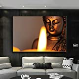 jiushice Rahmen Buddha Statue and Candlelight Home Decor Large Posters for Living Room Wall Art...