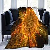 Olverz Holy Beast Sonnenkerzen-Decke, flauschig, warm, Couch-Decke, alle Jahreszeiten, verblasst nicht, Sofadecke, bequeme Plüschdecke für Auto, Bett, Zuhause, Camping, 127 cm x 40