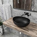 KERABAD Design Keramik Waschschale Aufsatzwaschbecken Waschbecken Oval schwarz-matt KBW082-B