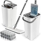 Flacher Wischmopp und Eimer Set, Dual Wash & Dry Reinigungseimer mit 10 Mopp-Pads, Haushalts-Mikrofaser, Flacher Wischmopp mit Edelstahlgriff für Hartholzböden.