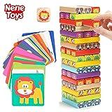 Nene Toys - Pädagogisches Kinderspiel ab 3 Jahre - Wackelturm 4 in 1 aus Holz mit Farben und...