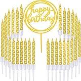 Boao 50 Stücke Gold Spiral Kuchen Kerzen und Alles Gute zum Geburtstag Kuchen Topper für Torten...