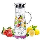 Wasserkaraffe ,BOQO1.5L Glaskaraffe, Wasserkrug mit Blütenblatt Edelstahldeckel Karaffen...