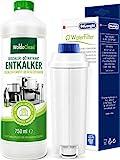Pflegeset Entkalker 750ml & 2x Wasserfilter DLSC002 - kompatibel Delonghi Kaffeevollautomat
