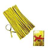Metallische Twist-Bänder, 10,2 cm, für Brot, Süßigkeiten, Geschenktüte, Leckerlibeutel (500 Stück) (Gold)