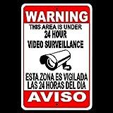 Unbekannt SS04 Metallschild mit Aufschrift Spanish English Warning Protected by Videoüberwachung,...