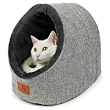 SCHLITZOHR Katzenhöhle Oskar | waschbare Premium Kuschelhöhle für Katzen & Hunde in edlem grau |...