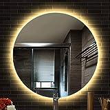 YIZHE LED Badspiegel,Runder Bad Spiegel,Schminkspiegel,Wandspiegel mit Touch-Schalter,Warmweiß 3000K,Badezimmerspiegel,Lichtspiegel, mit Ø 60 cm,Badezimmer LED Spiegel