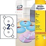 AVERY Zweckform L7676-25 selbstklebende CD-Etiketten (blickdichte CD-Aufkleber, Ø 117 mm SuperSize,...