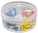 KNIPEX Sortimentsboxen mit isolierten Aderendhülsen 97 99 907, Grau, Gelb, Rot, Blau