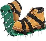 JHNEA Rasenbelüfter Rasenlüfter Schuhe,Vertikutierer Rasen Nagelschuhe mit Verstellbare Gurte und Metal, Estrichschuhe mit erhöhtem Fersenabsatz für sicheren Halt,Green