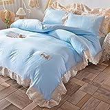 bettwäsche 4 teilig 135x200,Sommer Bettwäsche Set Eisseide Vier-Stück-Seidenrutsche Prinzessin Windrosa Bettbedarf-L_2,0m Bett / 420 * 240 cm