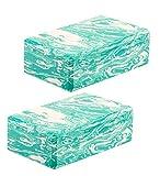 Eduro 2er Set Yogablöcke grün-weiß marmoriert - aus stabilem Eva-Schaumstoff - 100 g leicht -...