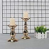 GoMaihe Retro Kerzenhalter 2 Set in Unterschiedlicher Größe, 22/15.5cm Antik Kerzenständer Eisen...