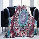 Olverz Hippie-Mandala-Decke, flauschige warme Couch-Decke, alle Jahreszeiten, verblasst nicht, Sofadecke, bequeme Plüschdecke für Auto, Bett, Zuhause, Camping, 152,4 cm x 50