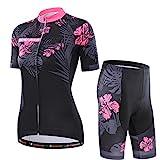 Damen Atmungsaktiv Schnelltrocknend Fahrradtrikot Set, Outdoor Kurzarm Radsport-Shirt + 3D Gel...