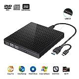 Externes CD DVD Laufwerk,USB 3.0 Typ C DVD CD RW Lesegerät mit SD-TF-Kartenleser und...