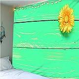 haoziggdeshoop Wandteppich Wandbehänge Kreative Hölzerne Plankenblume Tapisserie Wandtuch Hausdeko...