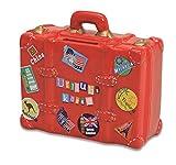 Spardose Urlaubskasse rot in Kofferform | Sparbüchse roter Reisekoffer mit Schlüssel und Schloss |...